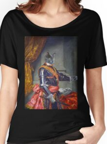 Royal Cat Portrait Graphic T-shirt 1761 Year oil canvas style Women's Relaxed Fit T-Shirt
