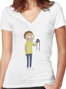 Rick and Morty - Evil Morty Women's Fitted V-Neck T-Shirt