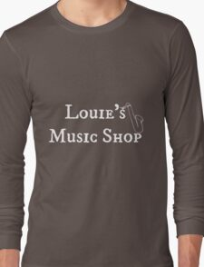 "Welcome To Night Vale ""Louie's Music Shop"" White Writing, Purple Background Long Sleeve T-Shirt"