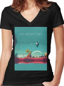 No Man's Sky Wallpaper Women's Fitted V-Neck T-Shirt