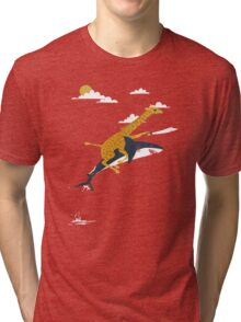 giraffe and shark Tri-blend T-Shirt