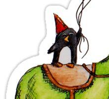 Party Penguin on a Dinosaur Sticker