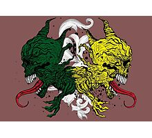 Monstrous Green and Yellow Skulls with Tongues Photographic Print