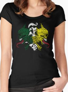 Monstrous Green and Yellow Skulls with Tongues Women's Fitted Scoop T-Shirt