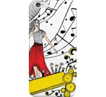 Music Diva with Musical Notes and Cheering Crowd iPhone Case/Skin