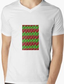 Red and  Green Scale Dice D8 Zig Zag Mens V-Neck T-Shirt