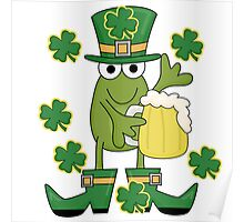 St. Paddys Frog With Mug of Beer Poster