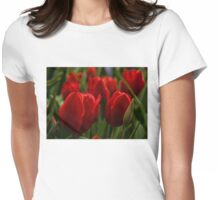 Vivid Red Tulip Garden Womens Fitted T-Shirt