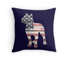 Patriotic Pitbull, American Flag Throw Pillow