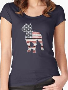 Patriotic Pitbull, American Flag Women's Fitted Scoop T-Shirt