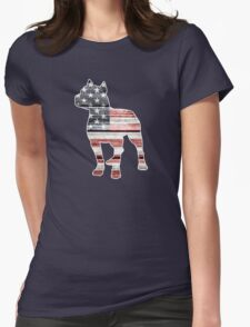 Patriotic Pitbull, American Flag Womens Fitted T-Shirt