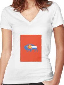 Colorado Bison Women's Fitted V-Neck T-Shirt