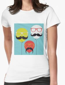 Mustaches Balloon Womens Fitted T-Shirt