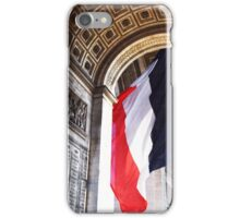 French Flag flowing in the Wind on the Arc du Triomphe iPhone Case/Skin