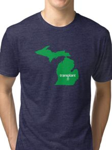 Michigan Transplant MI Detroit Green Tri-blend T-Shirt