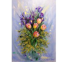 The Gift from Ariel. Irises, Tulips and Mimosa. Photographic Print