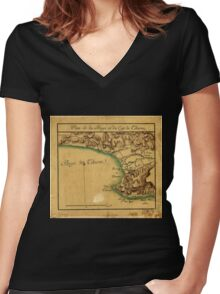 American Revolutionary War Era Maps 1750-1786 695 Plan de la baye et du cap de Tiburon Women's Fitted V-Neck T-Shirt