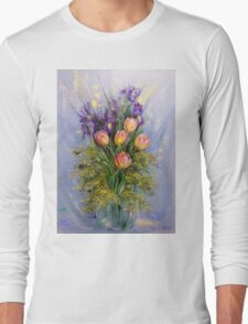 The Gift from Ariel. Irises, Tulips and Mimosa. Long Sleeve T-Shirt