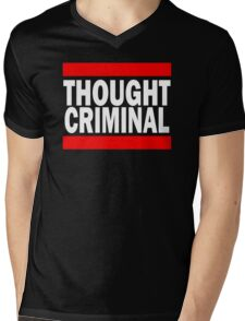 Thought Criminal - Black Background Mens V-Neck T-Shirt