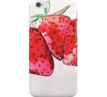 watercolour strawberries iPhone Case/Skin
