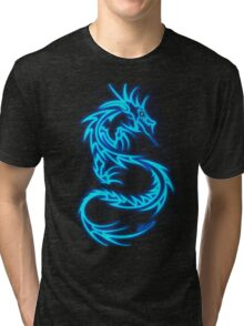 Dragon neon bleue Tri-blend T-Shirt