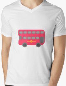 Red London Bus Mens V-Neck T-Shirt
