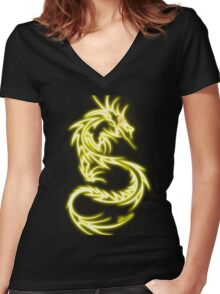 Dragon neon jaune Women's Fitted V-Neck T-Shirt