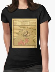 American Revolutionary War Era Maps 1750-1786 879 Sketch of the action between the British forces and American provincials on the heights of the peninsula of Womens Fitted T-Shirt