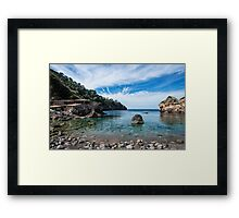 """Cala Deià Cove, as used in scenes for """"The Night Manager"""" Series on BBC Framed Print"""