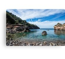 """Cala Deià Cove, as used in scenes for """"The Night Manager"""" Series on BBC Canvas Print"""