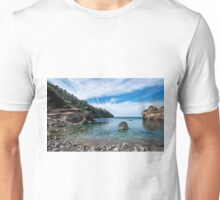 """Cala Deià Cove, as used in scenes for """"The Night Manager"""" Series on BBC Unisex T-Shirt"""