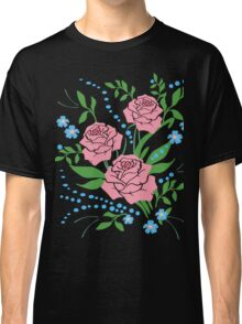 Red Roses and Flowers Floral Classic T-Shirt