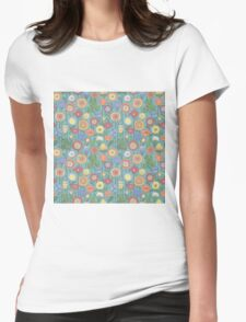 Bright color background of wildflowers doodles Womens Fitted T-Shirt
