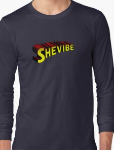 SheVibe Superman Style Logo Long Sleeve T-Shirt