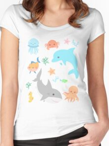 Creatures of the Sea Women's Fitted Scoop T-Shirt