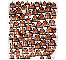 Campfire red orange yellow flames black border Poster