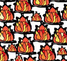 Campfire red orange yellow flames black border Sticker