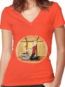 When Calvin will be tall Women's Fitted V-Neck T-Shirt