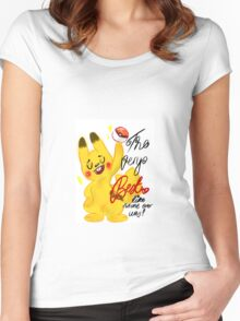 "Pokémon - Pikachu ""The very best like no one ever was"" cute design Women's Fitted Scoop T-Shirt"