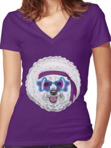 Star Disco dog Bichon Women's Fitted V-Neck T-Shirt