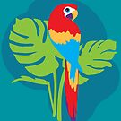 Parrot bright simple graphic art by Sarah Trett