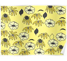 Vintage country floral yellow black pattern Poster