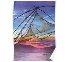 Chinese fishing nets, Cochin.  by Mary Faux Jackson Poster
