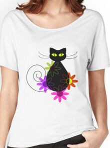 Black cat among flowers Women's Relaxed Fit T-Shirt