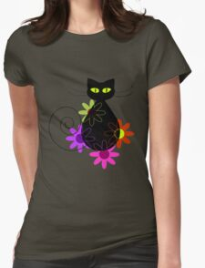 Black cat among flowers Womens Fitted T-Shirt