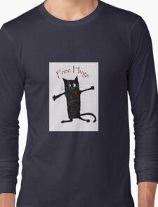 Free hugs, black cat cartoon, humor Long Sleeve T-Shirt