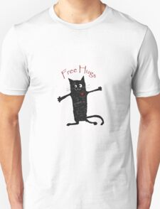 Free hugs, black cat cartoon, humor Unisex T-Shirt