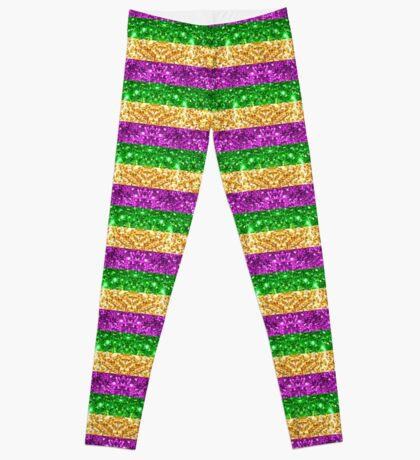 Mardi Gras Glitter Stripes Leggings