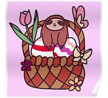 Easter Basket Sloth Poster