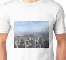 Aerial View, Lower Manhattan, Brooklyn Bridge, Manhattan Bridge, One World Observatory, World Trade Center Observation Deck, Lower Manhattan, New York City Unisex T-Shirt